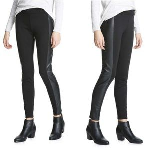 Joe Fresh Ponte Pleather Panel Back Zip Leggings